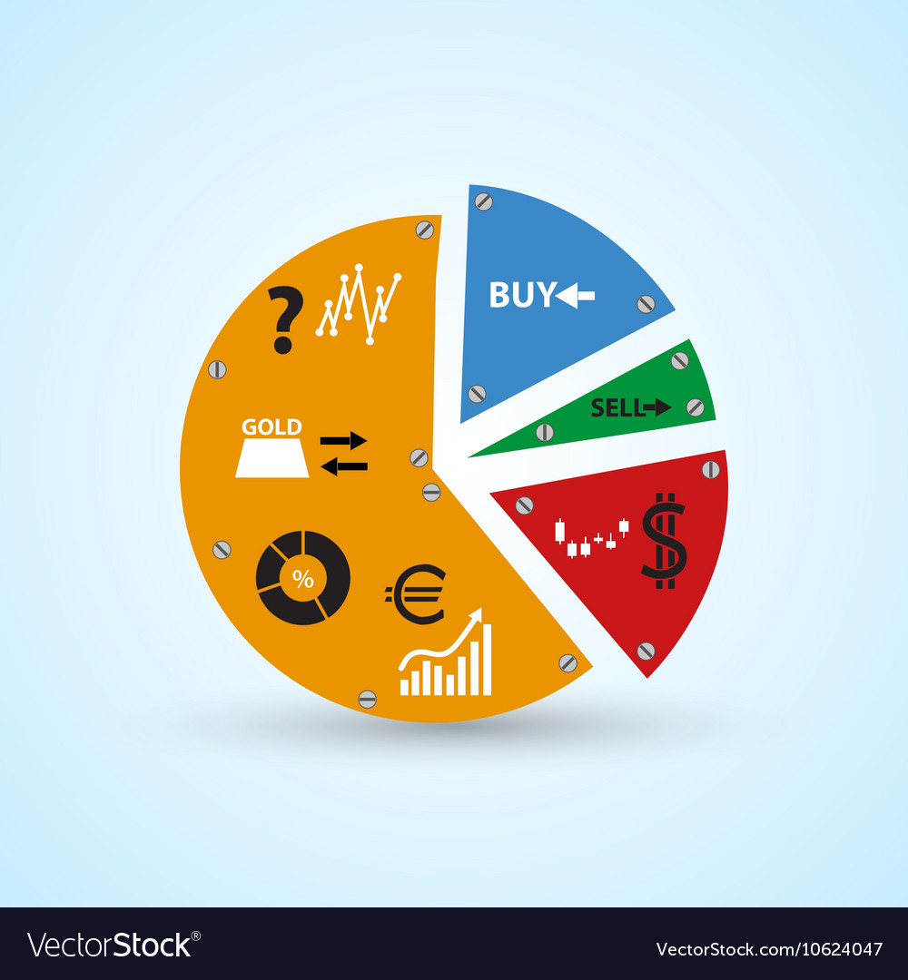 Infographics symbols in big colorful circle graph