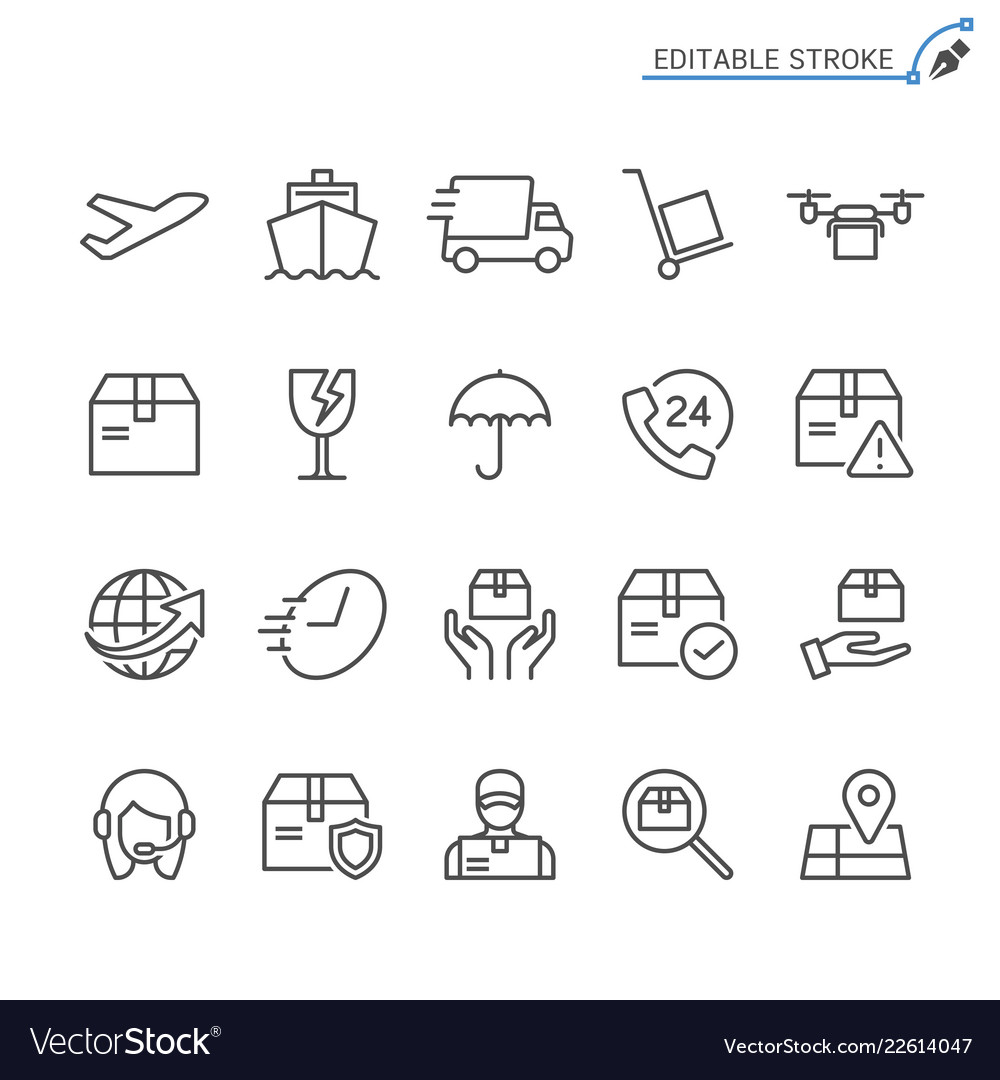 Logistics and shipping line icons editable
