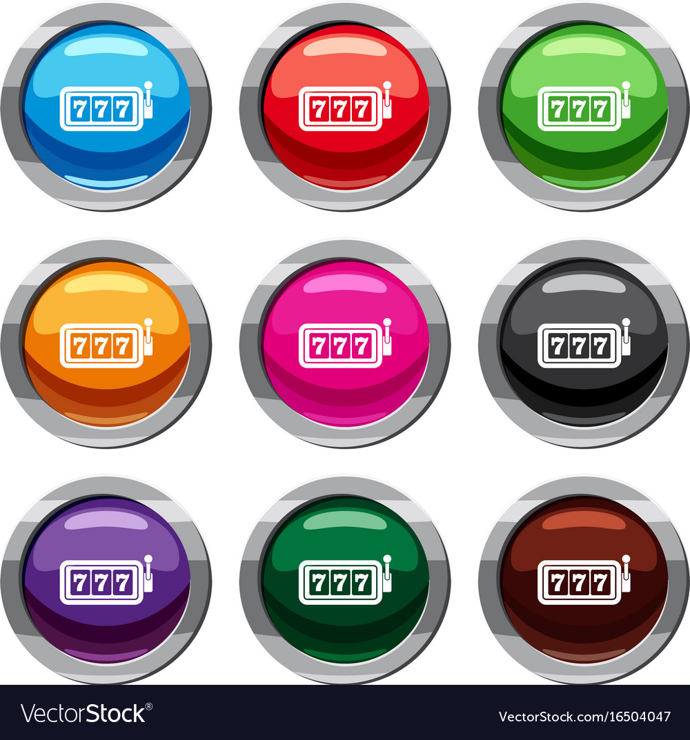Lucky seven on slot machine set 9 collection vector image