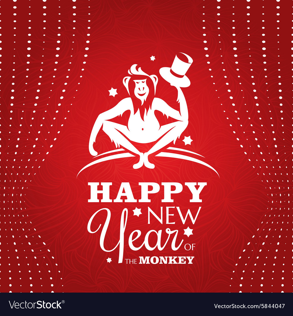 New year greeting card with monkey vector image