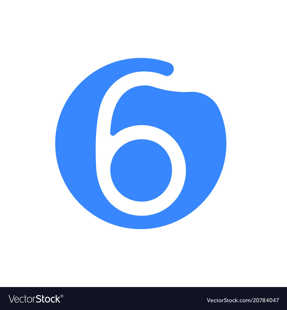 Number 6 six font logo blue icon