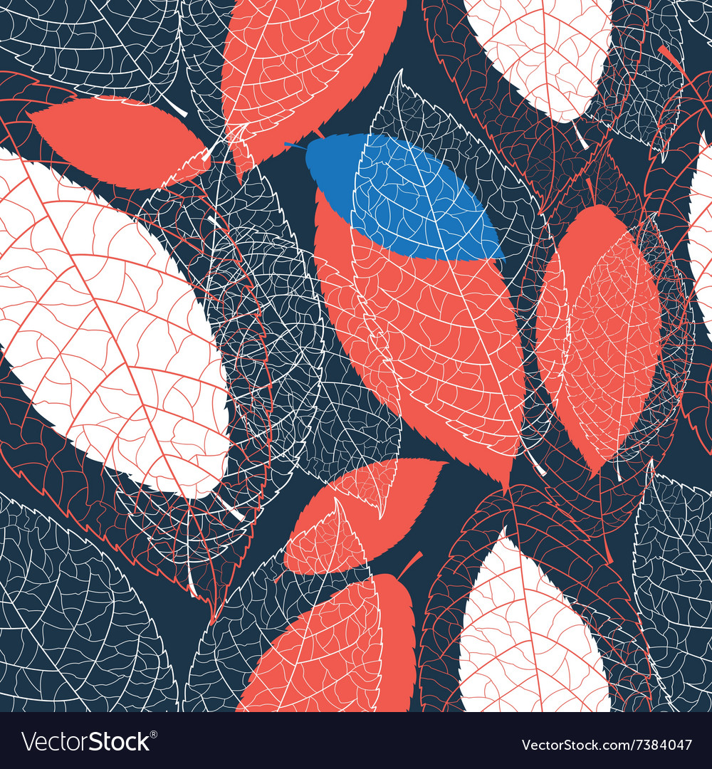 Seamless graphic pattern of autumn leaves vector image