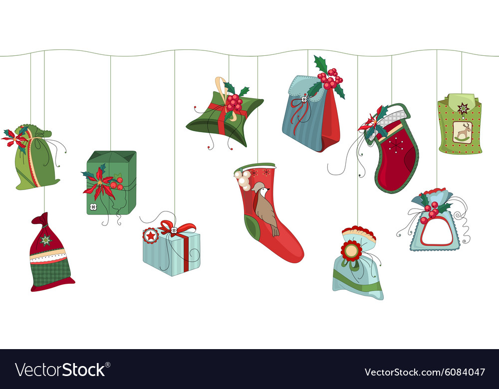 Seamless horizontal pattern brush with Christmas vector image