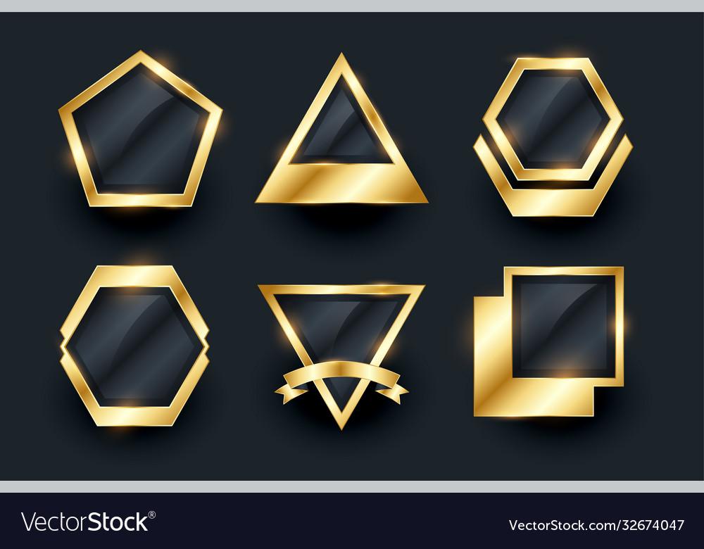 Set golden empty badges and labels design