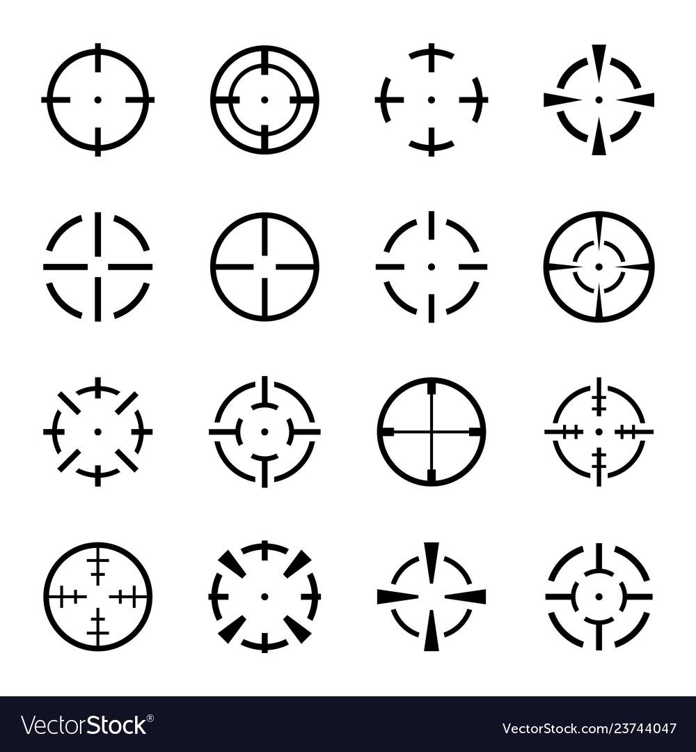 Set of crosshair icons on white background