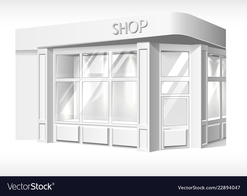 Store front exterior mockup realistic white