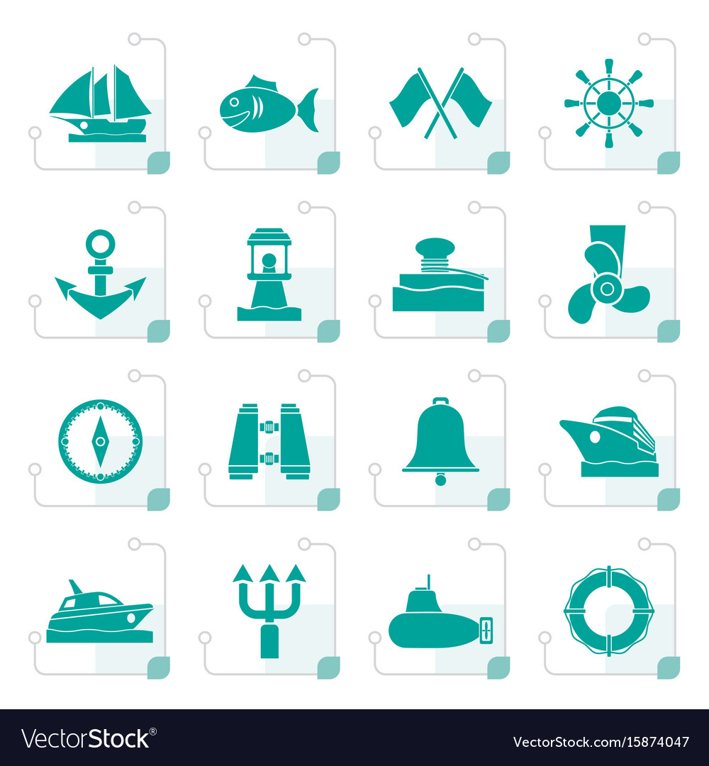 Stylized marine sea and nautical icons vector image