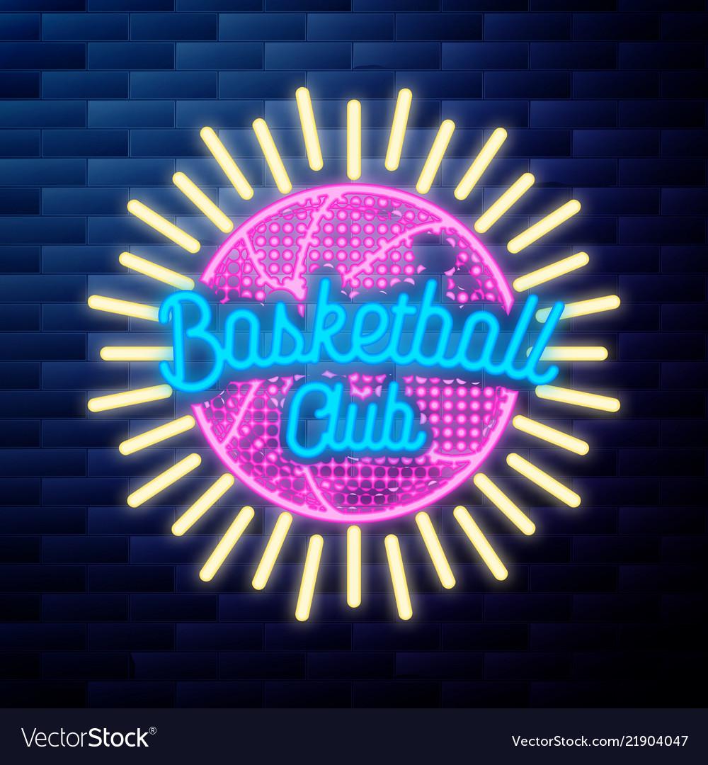 Vintage basketball emblem glowing neon sign
