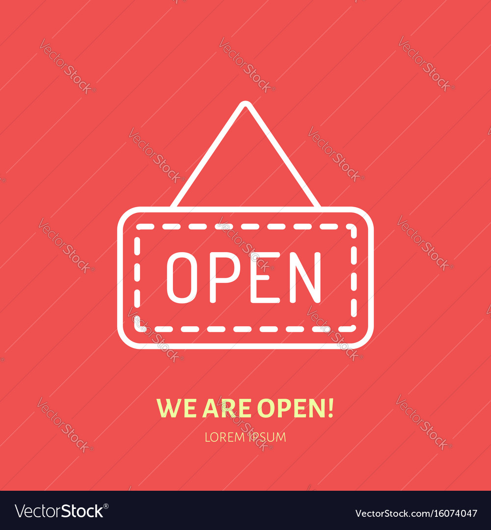 We are open sign flat line icon retail vector image