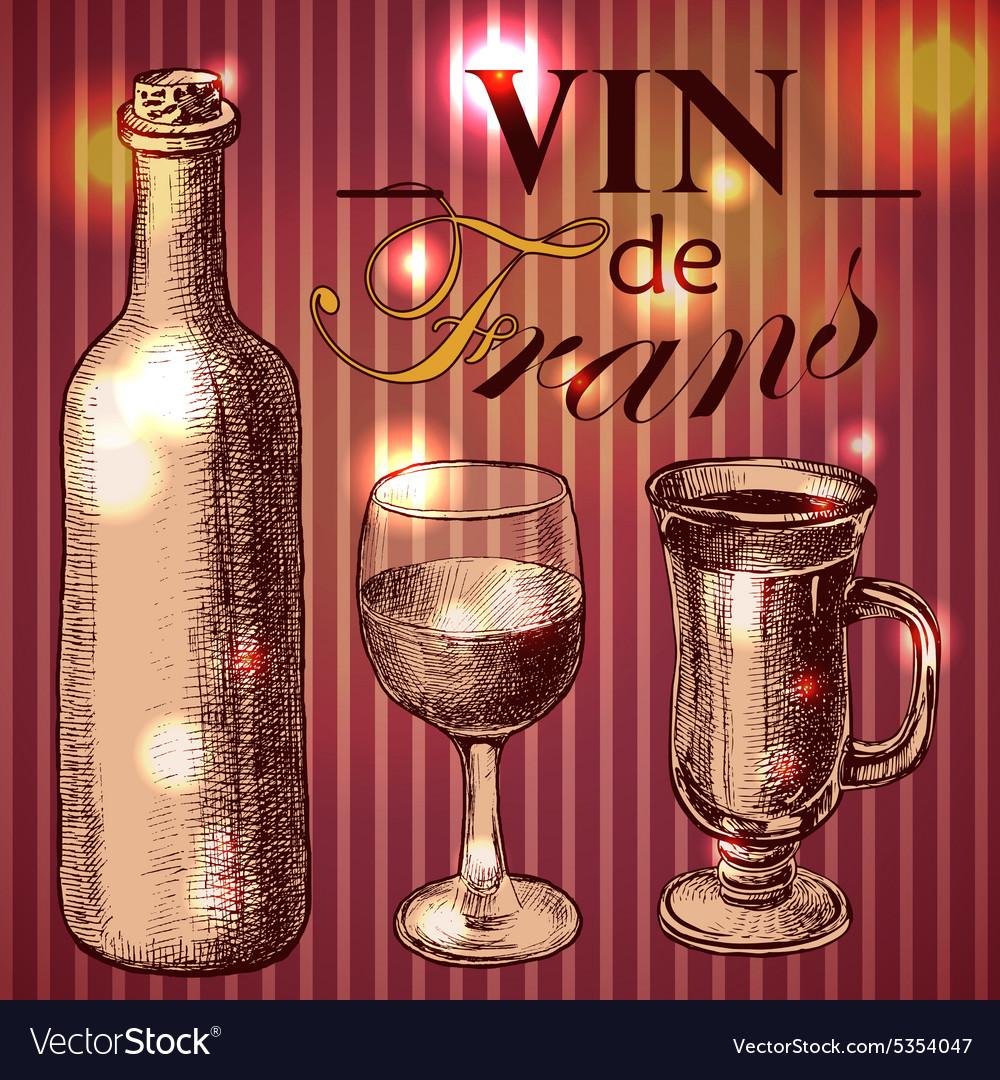 Wine vintage background Hand drawn