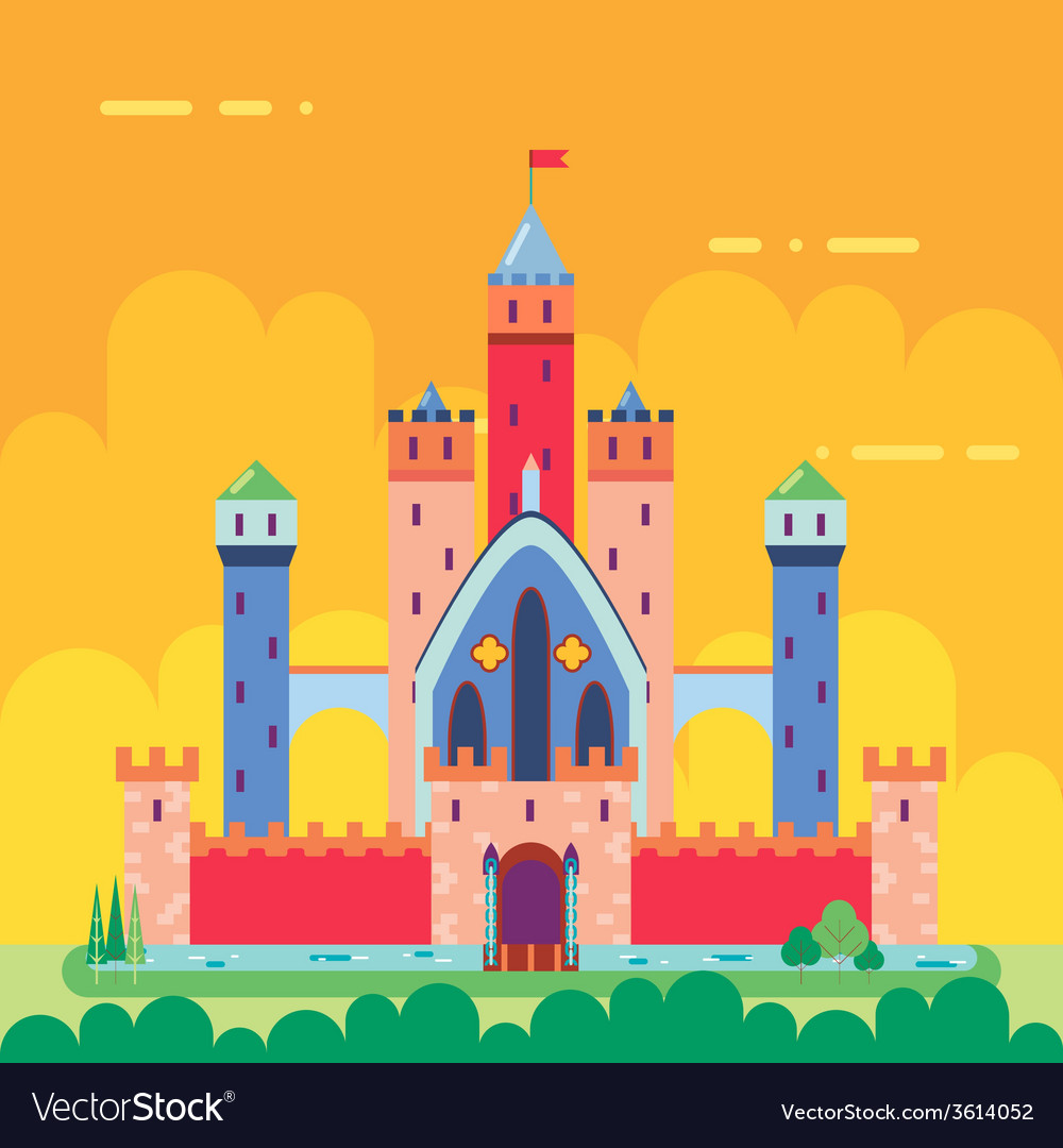 Cartoon Magic Fairytale Castle Flat Design Icon