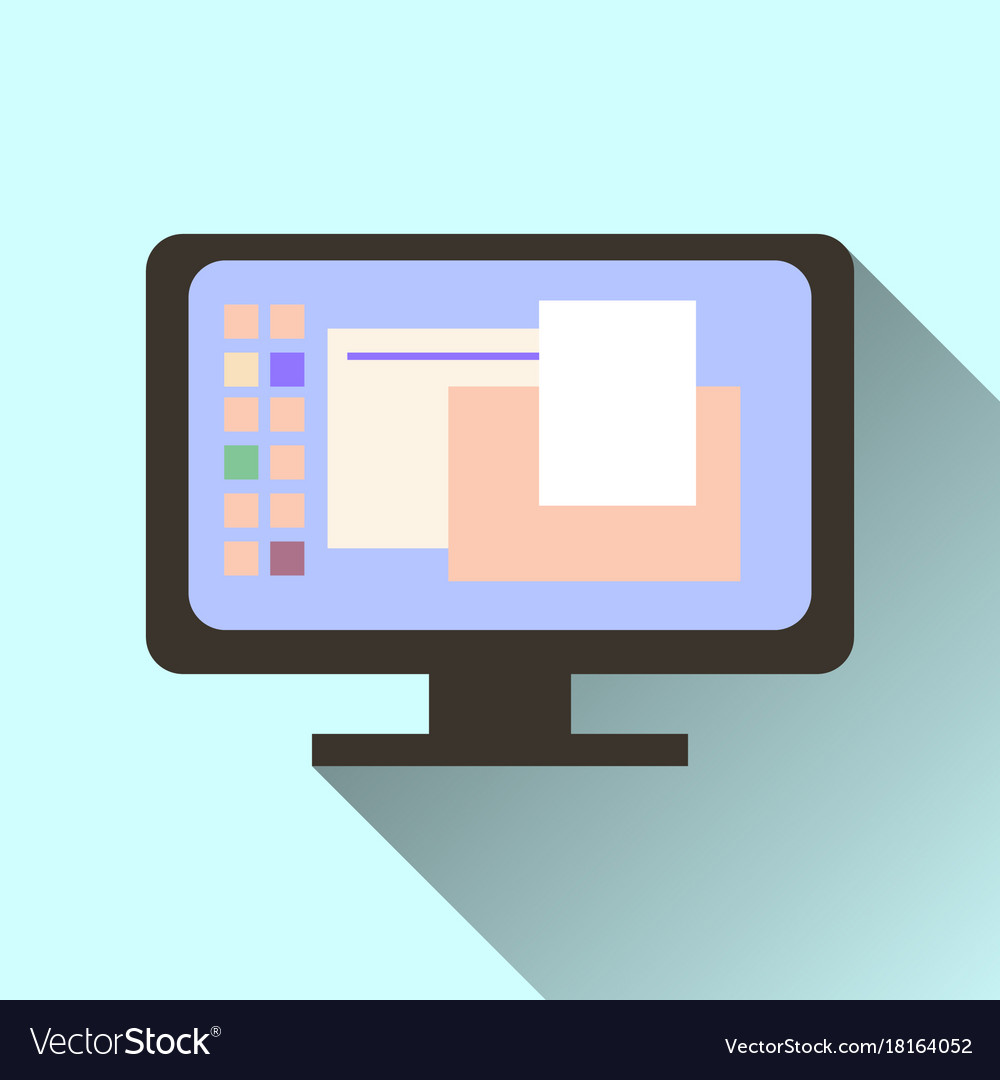 Computer screen icon with long shadow isolated on