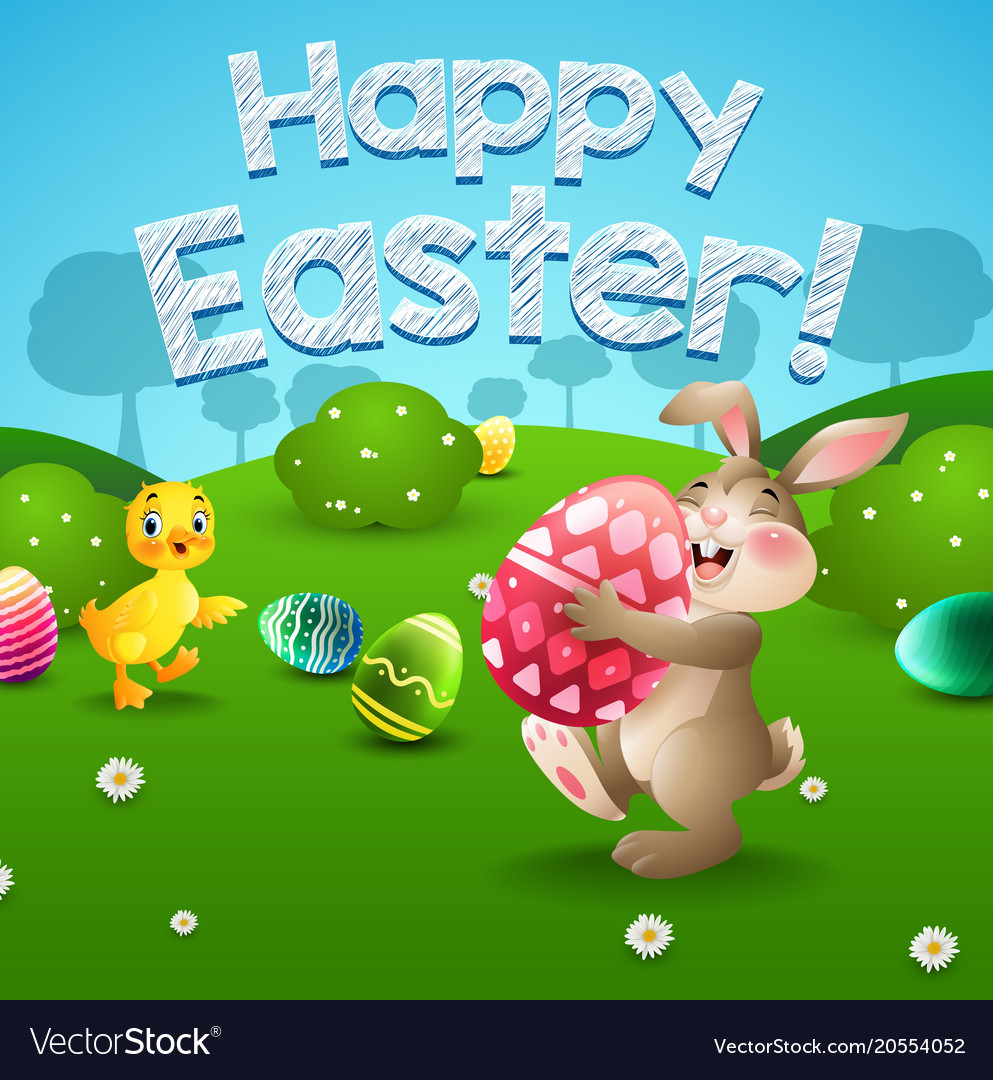 Easter bunny and eggs with little duck in field
