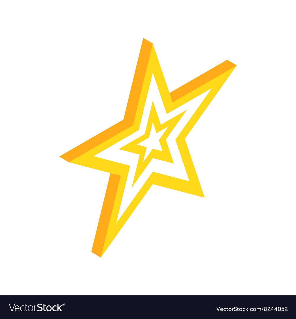 gold star icon isometric 3d style royalty free vector image