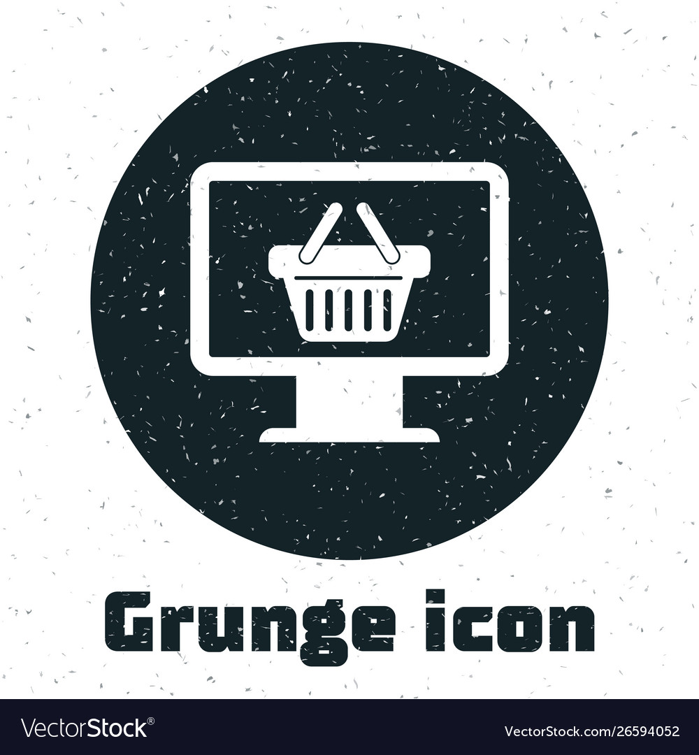 Grunge computer monitor with shopping basket icon