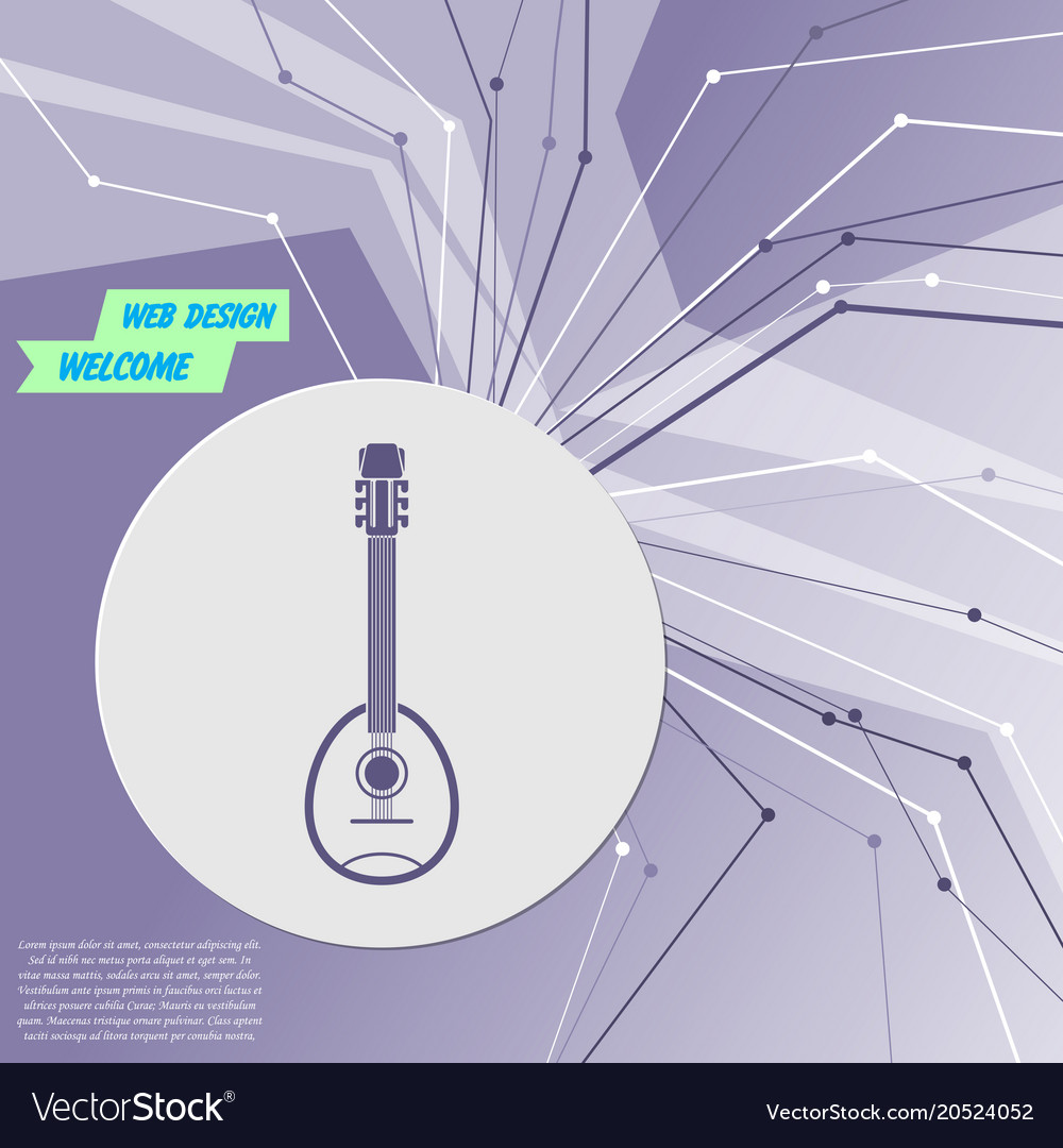 Guitar music instrument icon on purple abstract