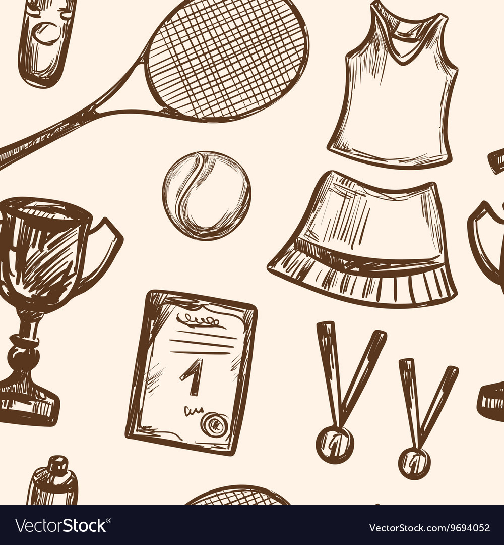 Hand drawn Tennis game seamless pattern