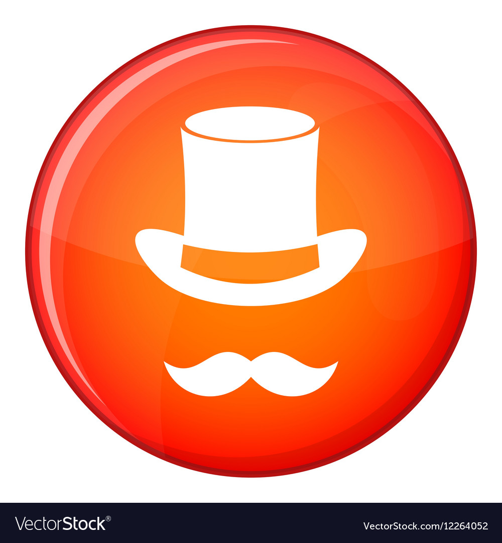 Magic black hat and mustache icon flat style vector image