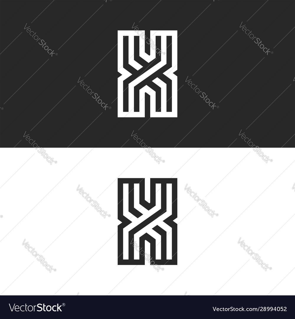 Monogram logo letter x initial identity set old