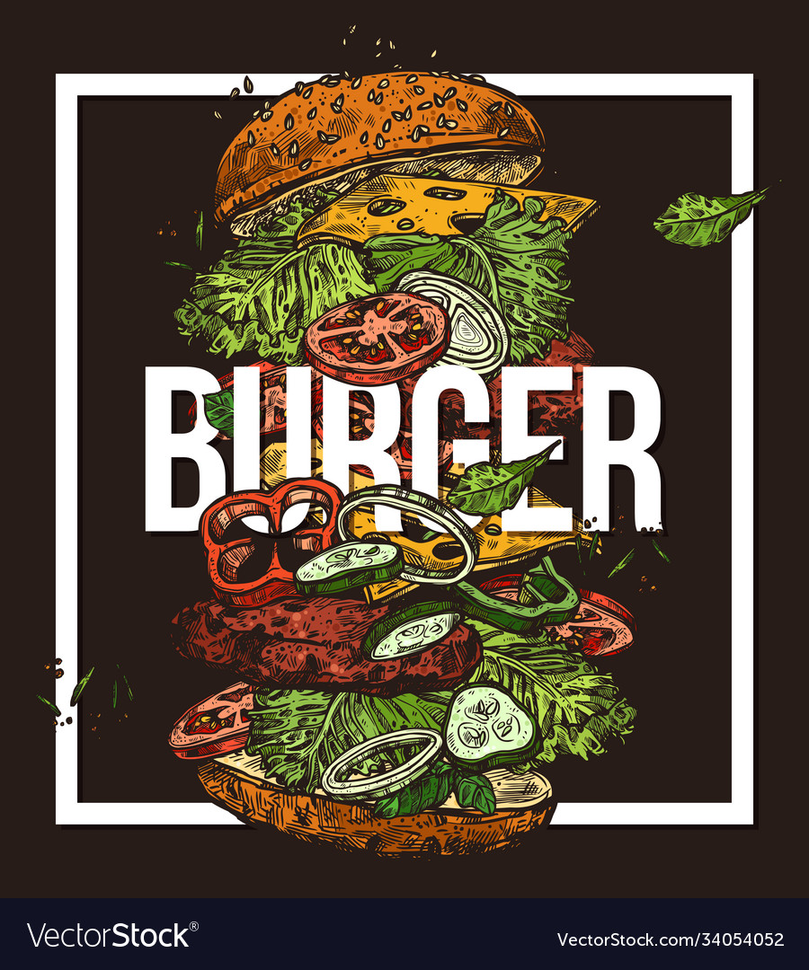 Sketch poster with flying burger drawing food