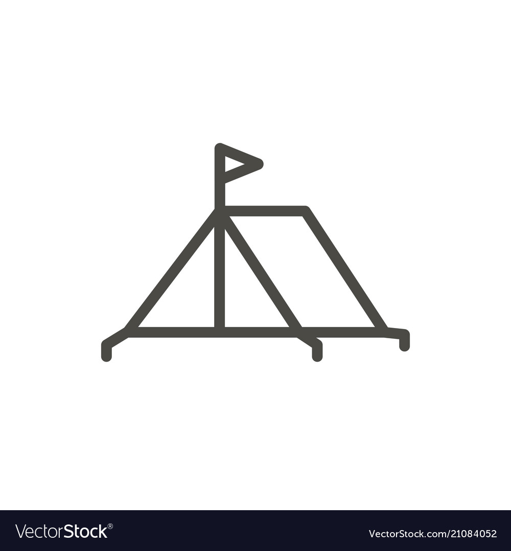 Tent icon line camping symbol isolated tr