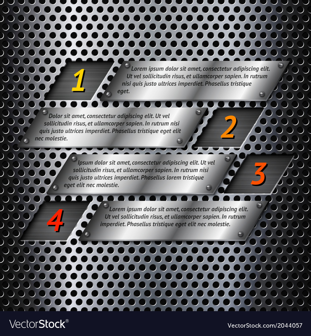 Abstract metal infographics template vector image