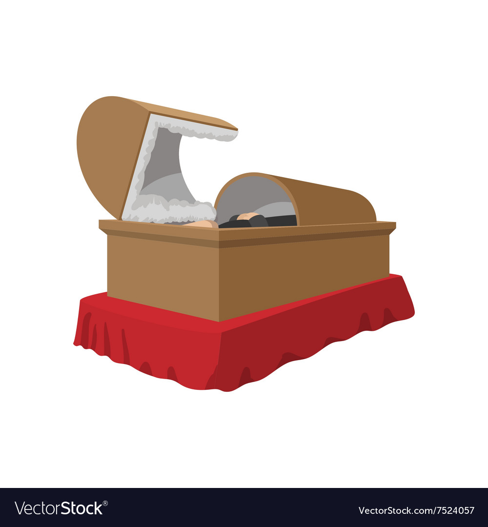 An open coffin cartoon icon