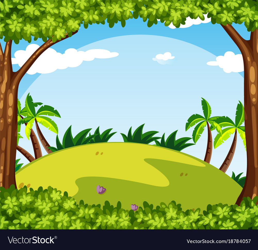 Background scene with trees on the hill vector image
