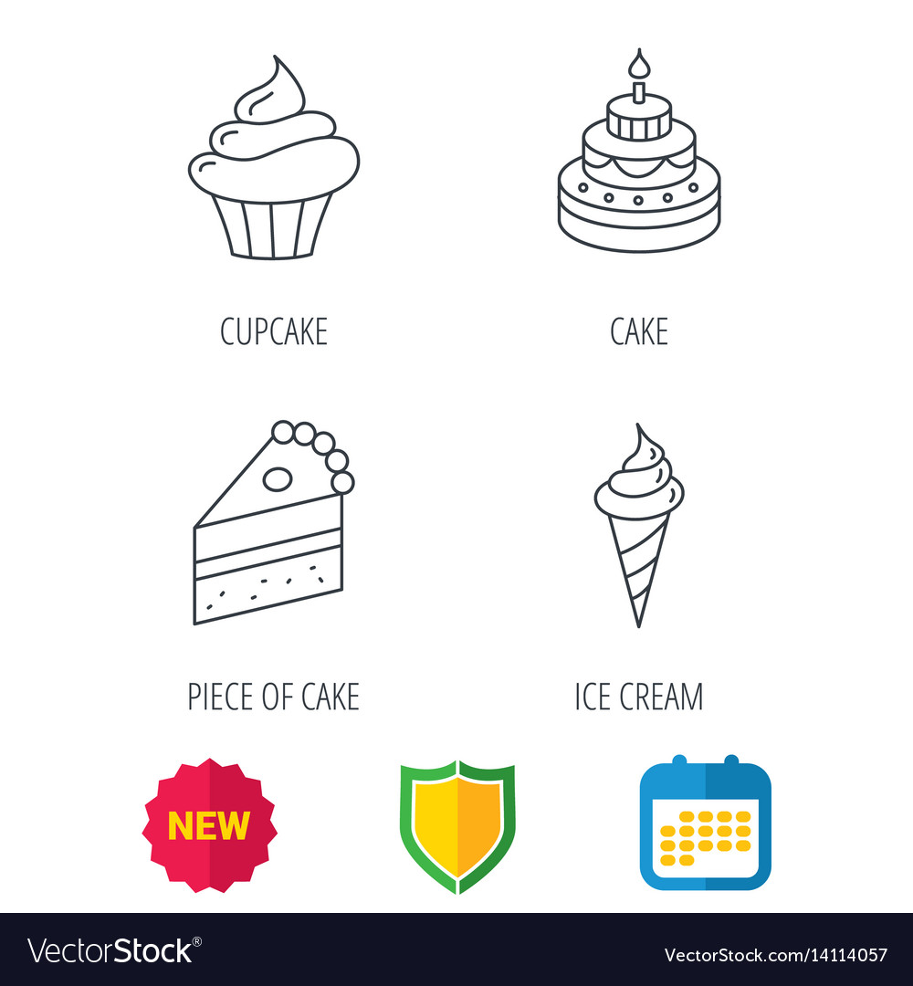 Cake cupcake and ice cream icons