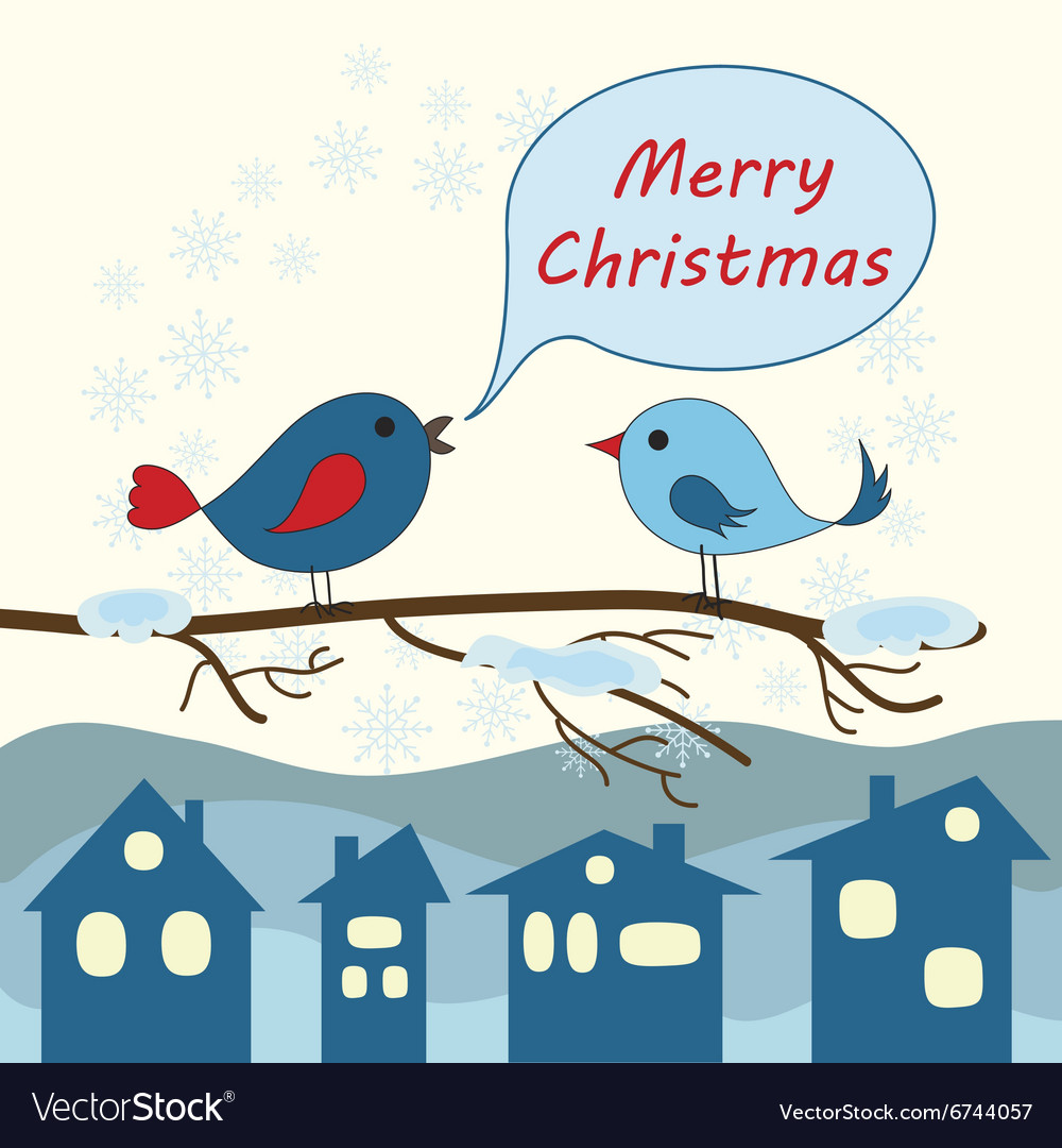Card with birds for Merry Christmas