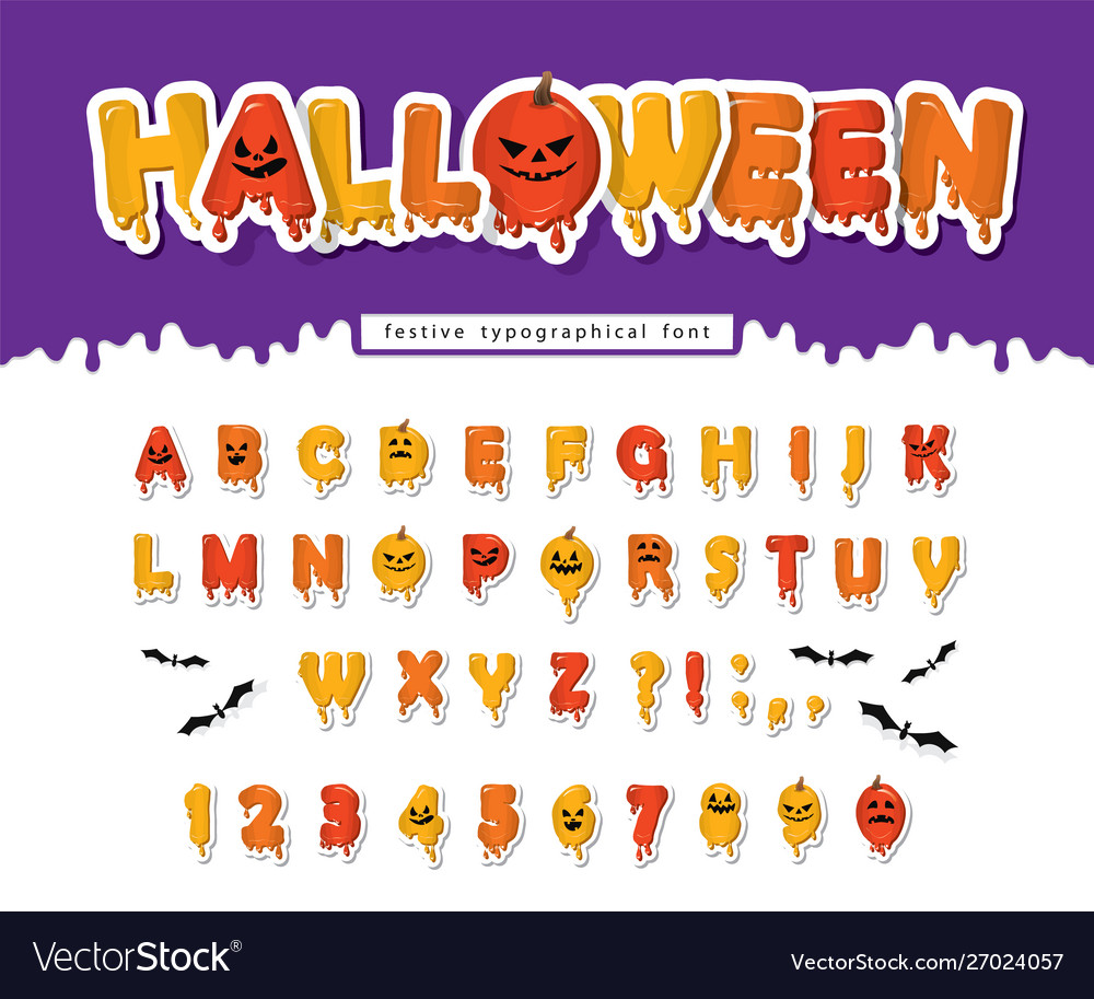 Halloween pumpkin font paper cut out letters and