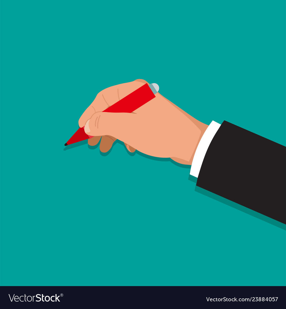 Hand holds a pen