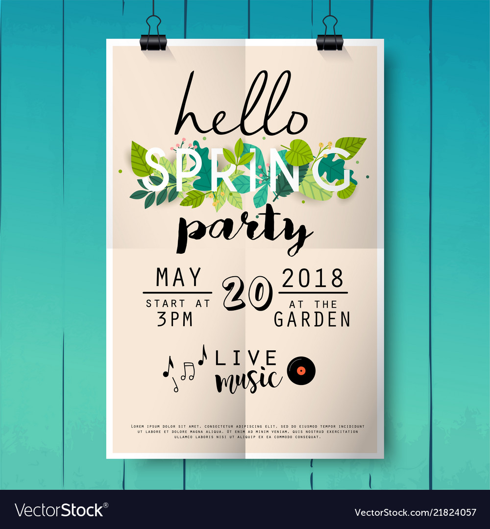 Hello spring party poster lettering on wood