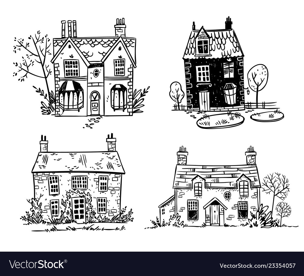 Set of pretty english cottages drawing