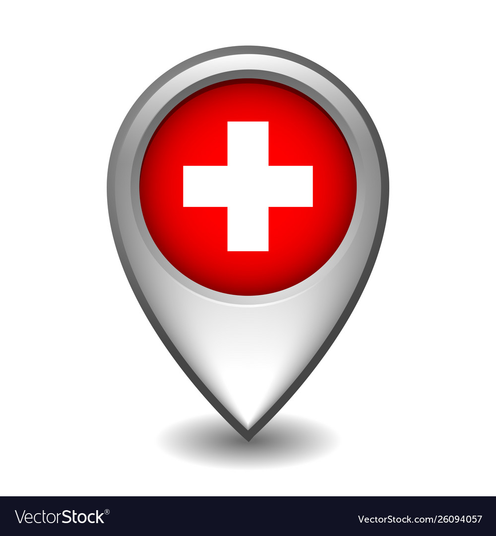 Silver metal map pointer with switzerland flag