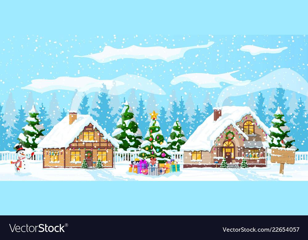Suburban house covered snow