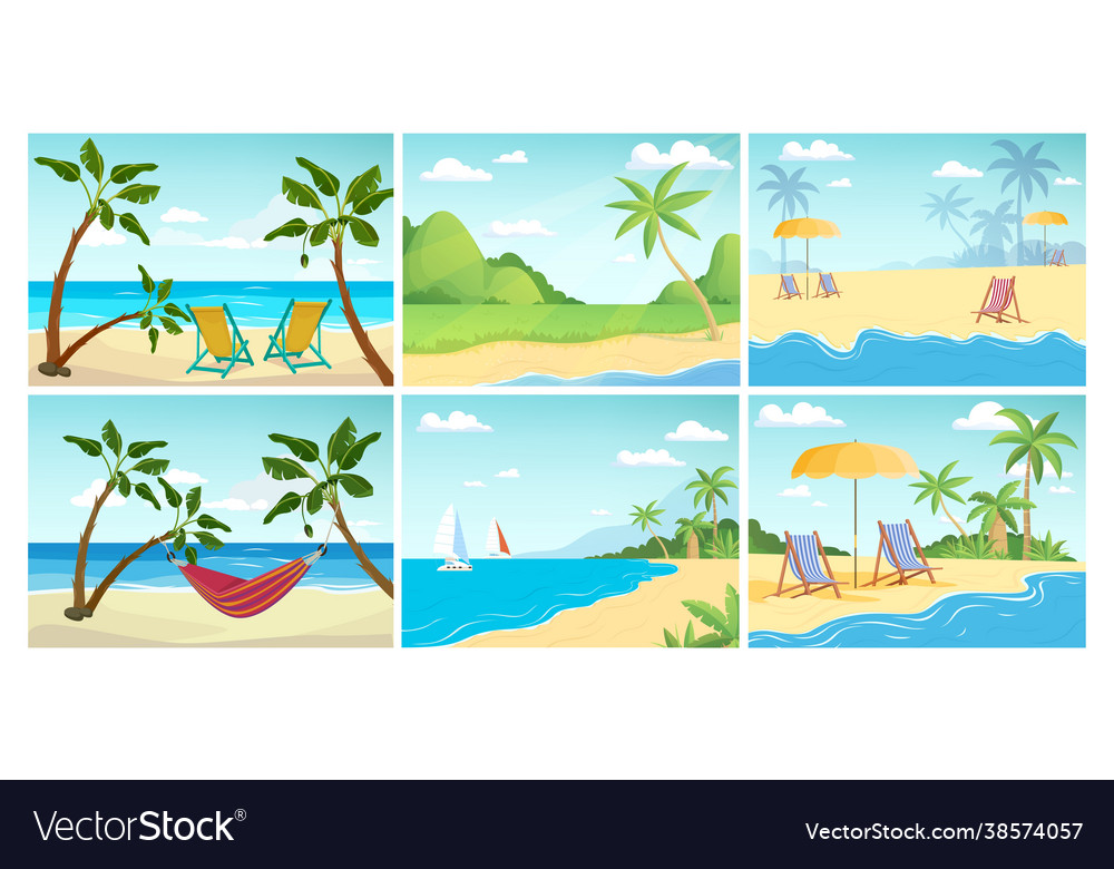Summer beach landscape palm ocean relax empty