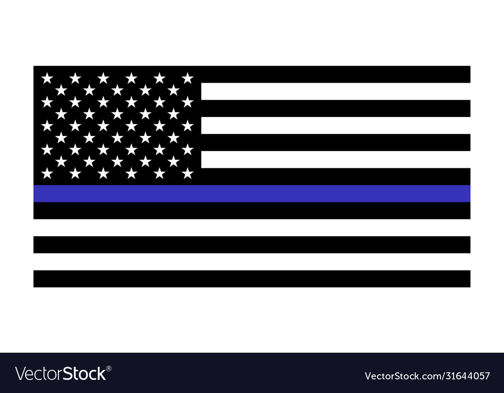 United states flag with blue line to honor police