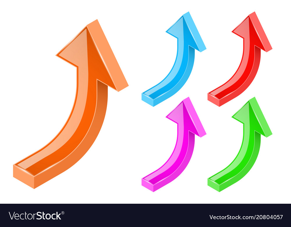 Up arrows 3d bold shiny colored signs