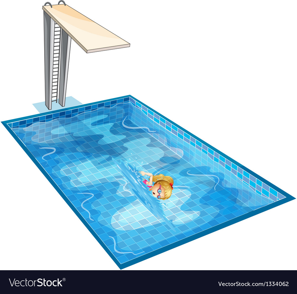 A girl swimming at the pool with a diving board