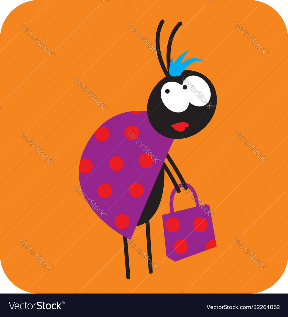 Beetle girl with a shopping bag