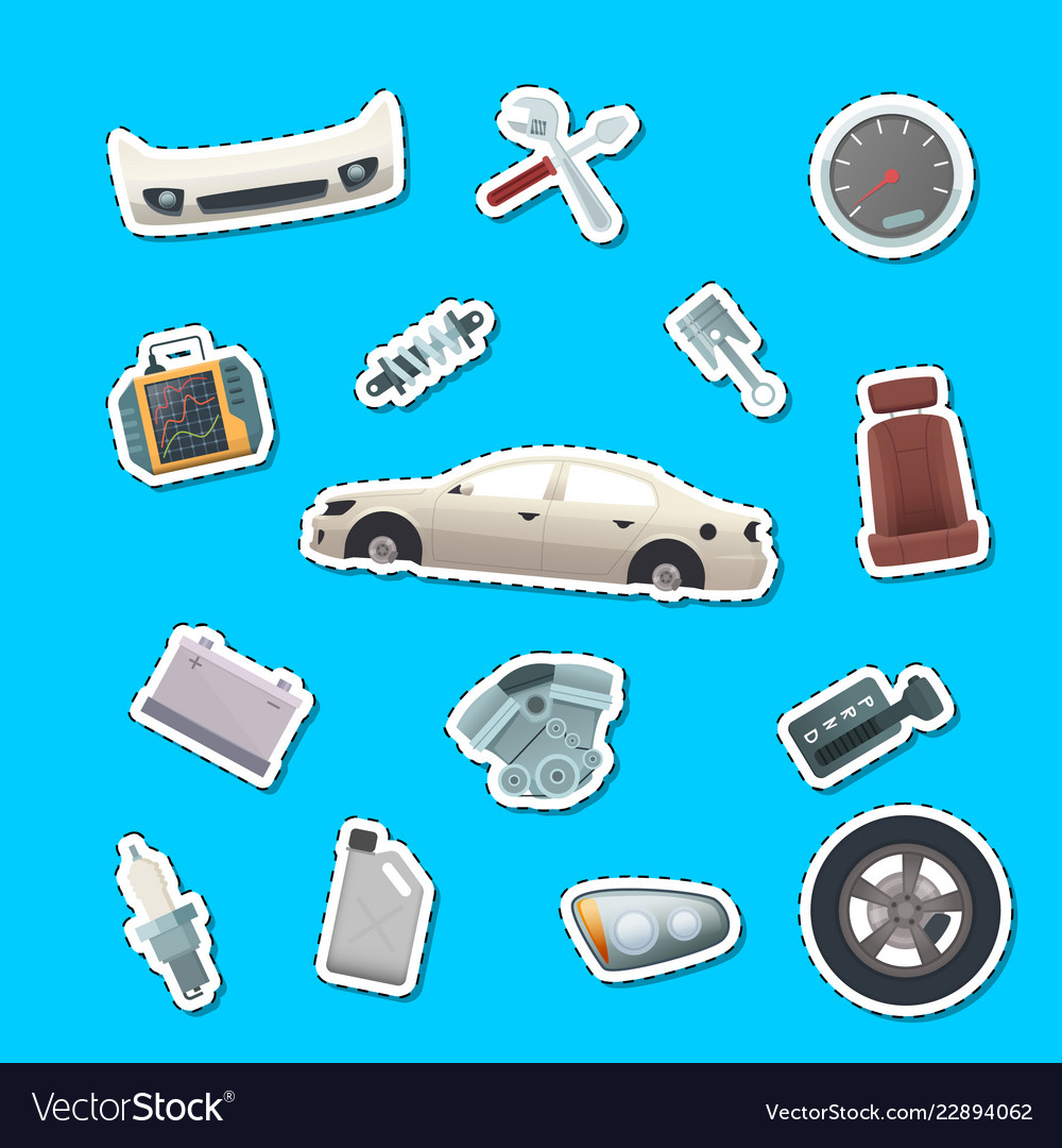 Car parts stickers of set