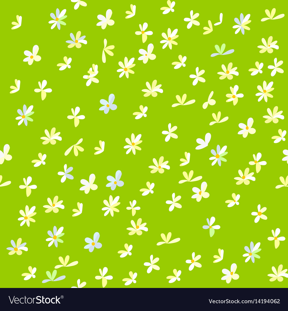Cartoon field background with flowers vector image