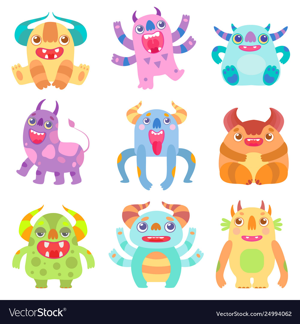 Cute Friendly Monsters With Horns Friendly Funny Vector Image