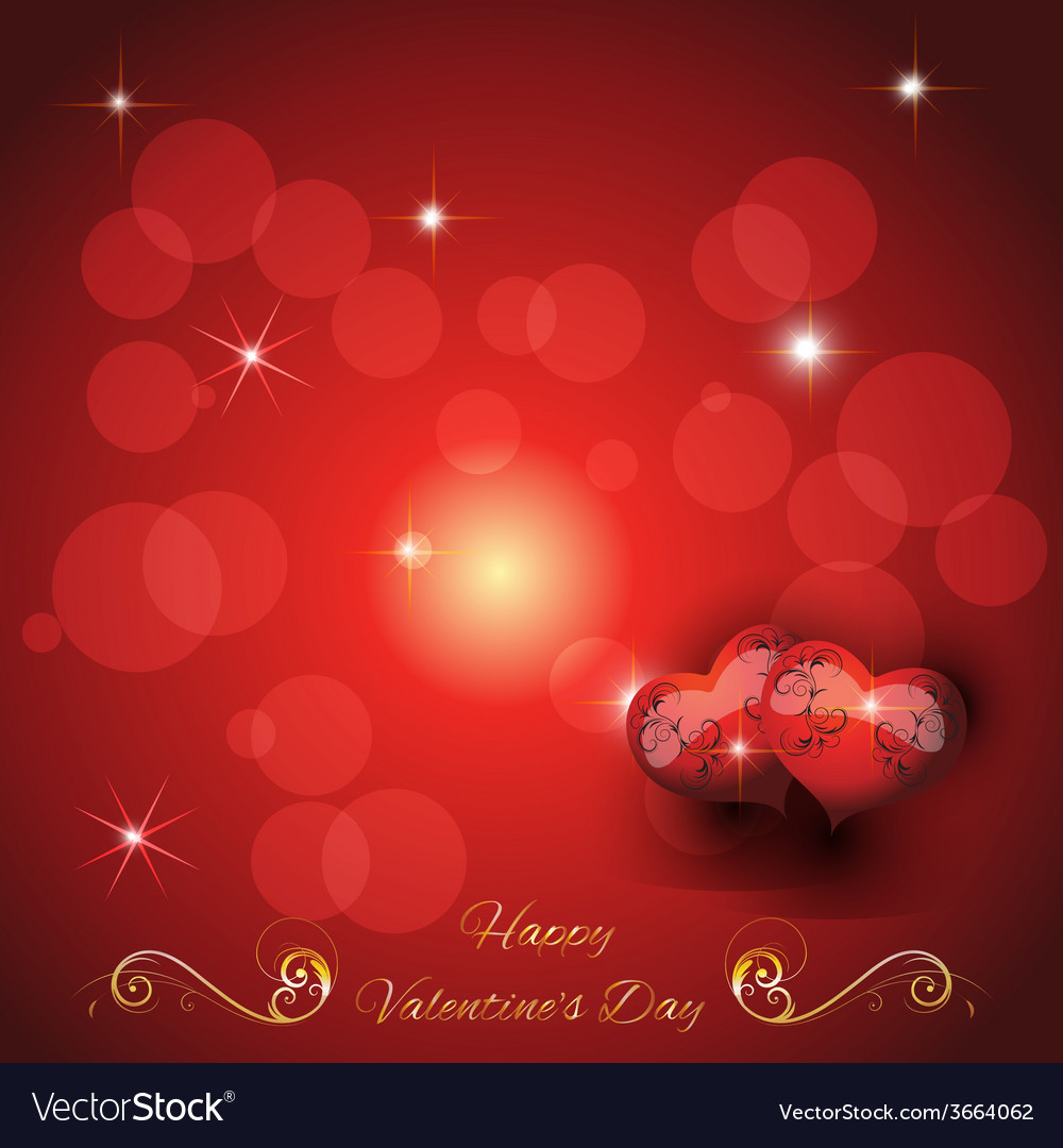 Festive greeting card with two hearts valentines d