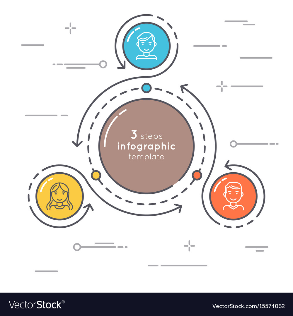 flat style 3 steps circle infographic template vector image