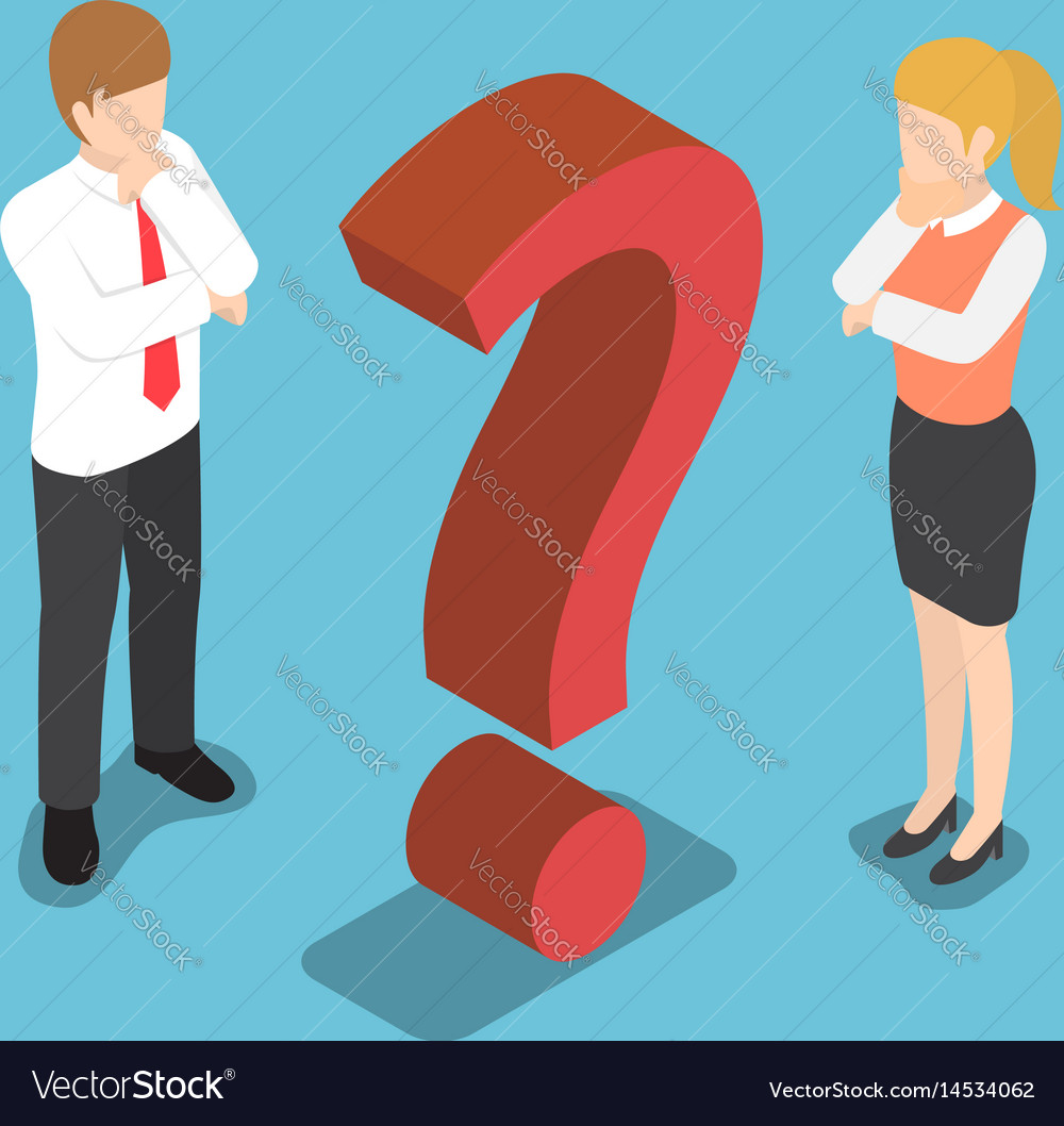 Isometric confused businessman with question mark vector image