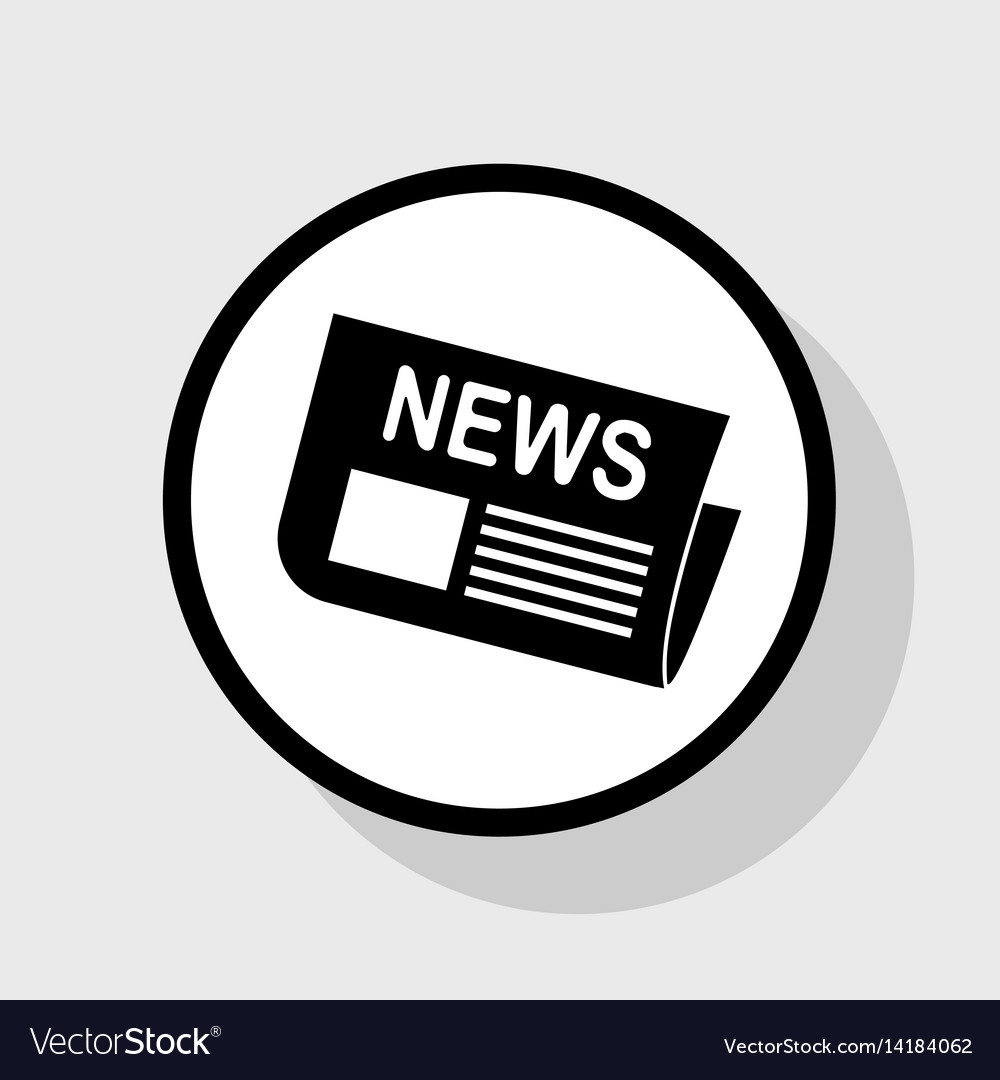 newspaper sign flat black icon in white royalty free vector
