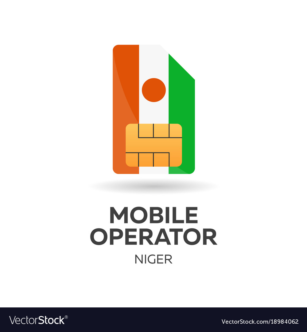 Niger mobile operator sim card with flag