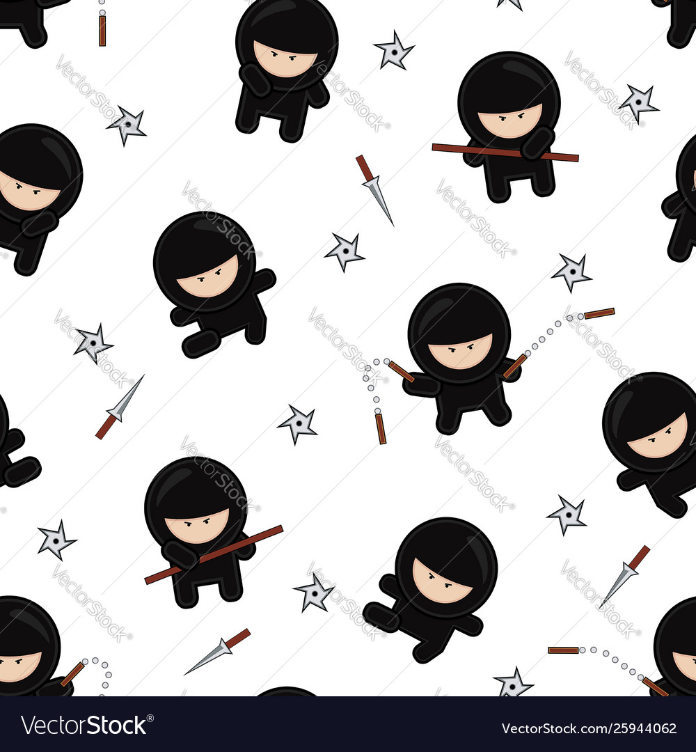 Ninja characters seamless pattern on white